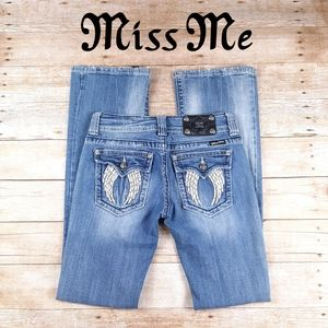 Miss Me Size 27 Angel Distressed boot cut jeans